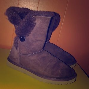 UGG Dark Purple Bailey Button Sheepskin Boots